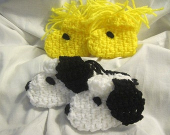 A Dog and His Best Friend (Snoopy and Woodstock) Crocheted Character  Baby Booties, slippers 3-6mo Size