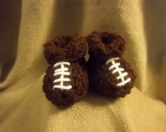 Football Baby Booties Crochet 0-3mo Size