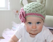 1 to 3T Crochet Girls Hat, Sage Green and Pink Flower Beanie Baby Hat, Photography Prop