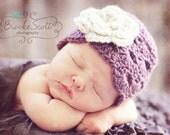 6-12 months Crochet Girls Hat, Dusty Purple and Oatmeal Flower Flapper Hat, Newborn Hat, Photography Prop - PumpkinPieCreations