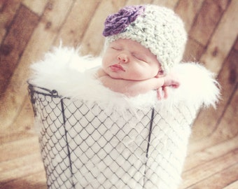 Newborn Hat, Baby Girl Hat, Newborn Chunky Crochet Girls Newborn Hat, Purple Flower Beanie Baby Hat, Photography Prop