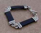 Men's Leather Motorcycle Harley Style Reversible Silver Bracelet