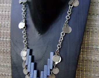 Blue Coral Silver Chain Charm Pendant Necklace