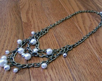 Glass Pearl Antiqued Layered Chain Beaded Charm Necklace