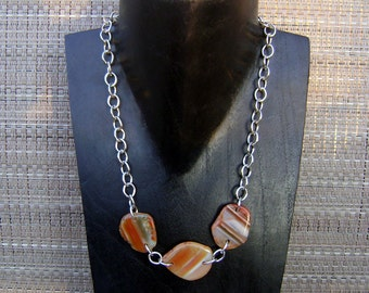 Sliced Banded Carnelian Agate Stone Pendant Silver Chain Necklace