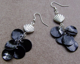 Mother Of Pearl Black Sea Shell Silver Charm Earrings