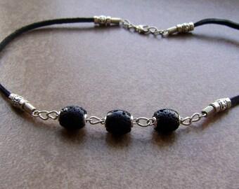 Men's Black Volcanic Lava Stone Beaded Leather Necklace