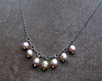 Freshwater Pearl Beaded Charm Design Bridal - Wedding Necklace