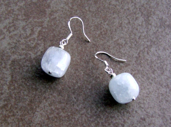 Crackled Quartz Crystal Stone Bead Sterling Silver Earrings