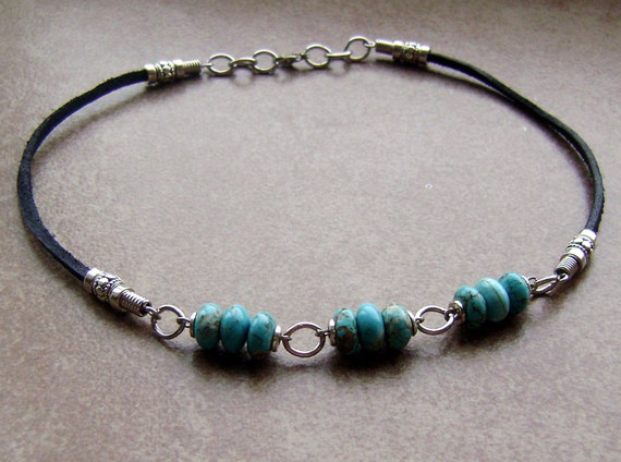 Men's Turquoise Stone Beaded Leather Chain Necklace