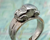 VW BUG RING - Volkwagen Beetle Driving Around Your Finger.  Done in Sterling