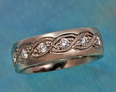 Wedding Band with Diamond-Set TWISTED ROPE PATTERN, 14k white gold