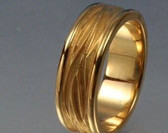 BORDERED WAVE Wedding Band, in 14k yellow, rose or white gold