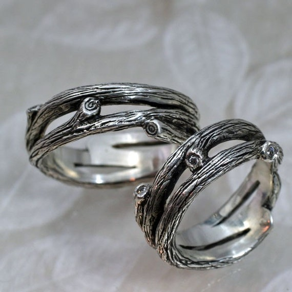 tanglewood branch wedding band a natural twigs and branches ring in sterling silver branch and vine - Nature Wedding Rings