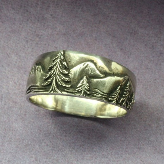 A Mountaineer's WEDDING BAND in Sterling Silver