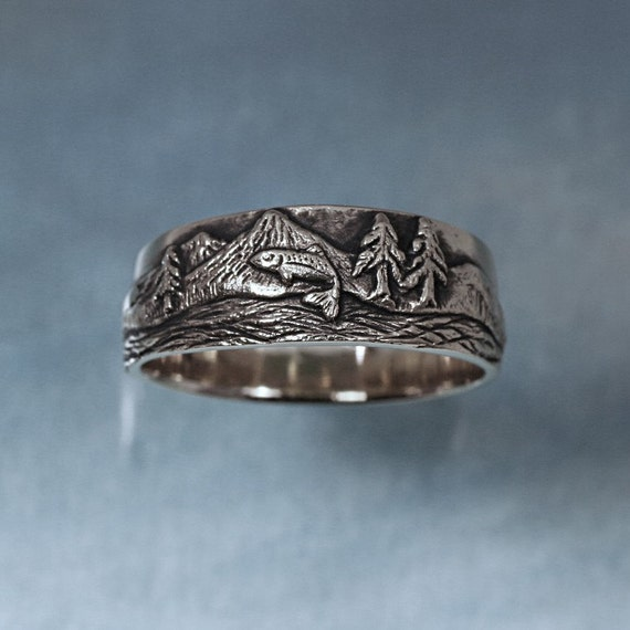 TROUT FISHING Ring in sterling silver Mountain Fly Fishing