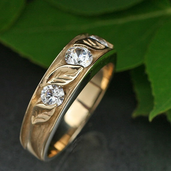 CONTEMPORARY 3-Stone WEDDING RING. White Sapphires and your choice of Gold