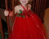 PRE SEASON SALE- Santa's Little Helper Christmas Poinsettia Princess Tutu Dress with Matching Poinsettia Hair Clip- Size S