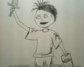 Adventure Boy - 5x7 Ink Illustration, Boy with Wooden Sword