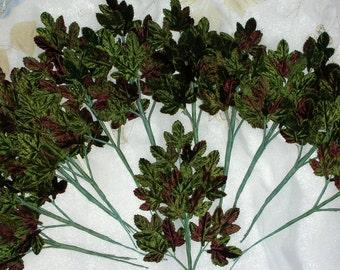 Leaves Green Millinery Velvet 12 Sprays, New 216 leaves
