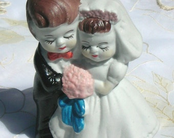 Wedding Bride and Groom Vintage Ceramic Cake Toper  New