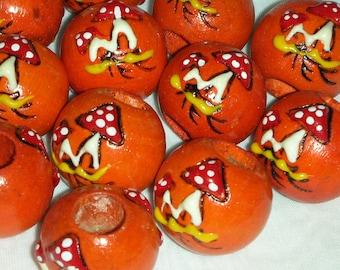 12 Large  Wood Beads Mushrooms Orange 2.5 cm  or 1 inch