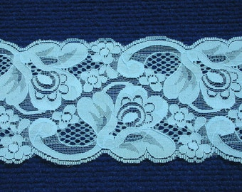 Cerianian Blue 12 yds or 11 meters, 9 cm or 3.5 inches wide Lace Blue Scallop
