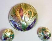 Vintage 60s Parklane Brooch Earrings Round Silver Colorful Enamel Floral Design