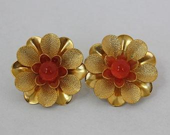 Vintage 60s Flower Earrings Sarah Cov. Gold Metal Flower w Red Bead Center Clip Backs
