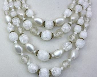Vintage 50s Choker Necklace 4 Strand White Plastic Beads WGermany