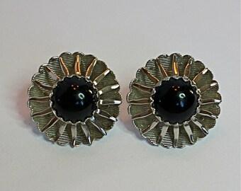 Vintage 60s Earrings Sarah Cov Rhodium Sunburst w Faux Onyx Cabochon Clip backs