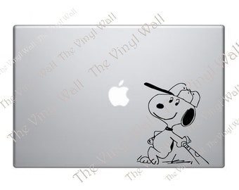 Snoopy With His Bat Playing Baseball Vinyl Decal Sticker for Wall Car Laptops Macbooks