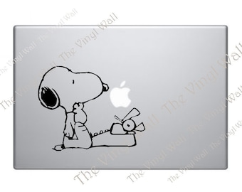 Snoopy and his Typewriter Vinyl Decal Sticker for Wall Car Laptops Macbooks