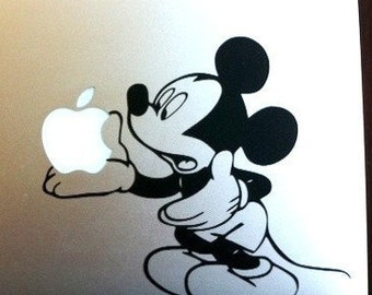 Mickey Mouse Holding the Apple - Vinyl Decal Sticker for Wall Car Laptops Macbooks