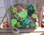 Spring Green, Knit and Crocheted Freeform Shoulder Bag, Purse OOAK