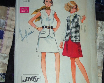 1969 Simplicity Pattern 8277 Women's Vest and One Piece Skirt Size 12, Bust 34