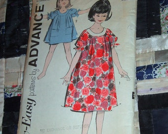 1950s Advance Pattern 2705 Girl's Muu Muu and Panties Size 12