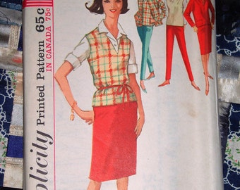 Vintage 1960s Simplicity Pattern 5075 for a Women's Jacket, Pants, Skirt and Pullover Size 18, Bust 38 Uncut