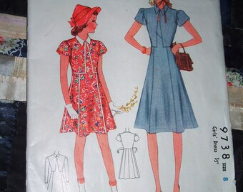 Vintage 1940s McCall Girl's Dress Pattern 9738 Size 8