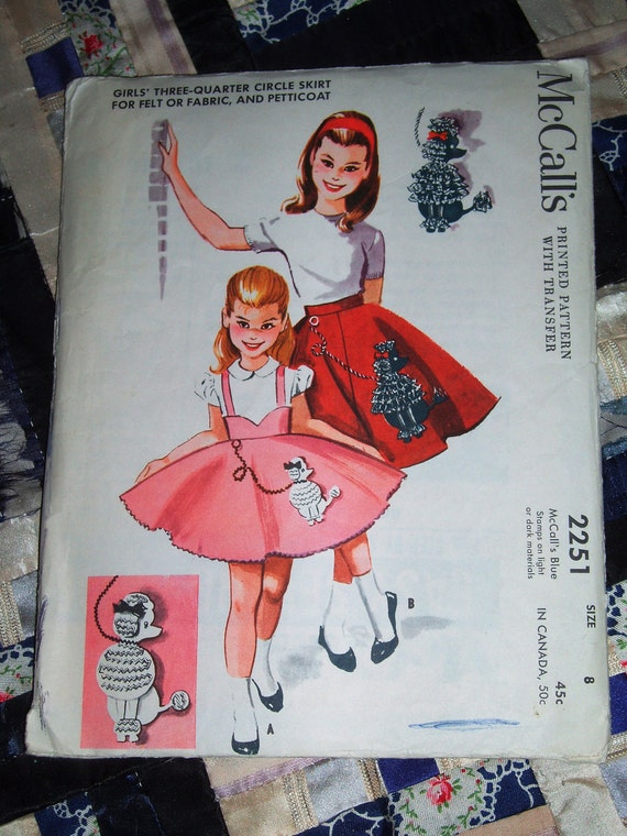 "Vintage 1958 Girls Three Quarter Skirt and Petticoat Pattern McCalls 2251 Size 8, 23"" waist"