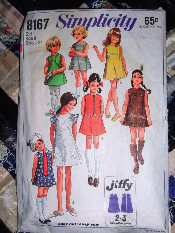 RESERVED for Felicity Vintage 1969 Simplicity Pattern 8167 Girls Jiffy Dress Size 8 Breast 27""