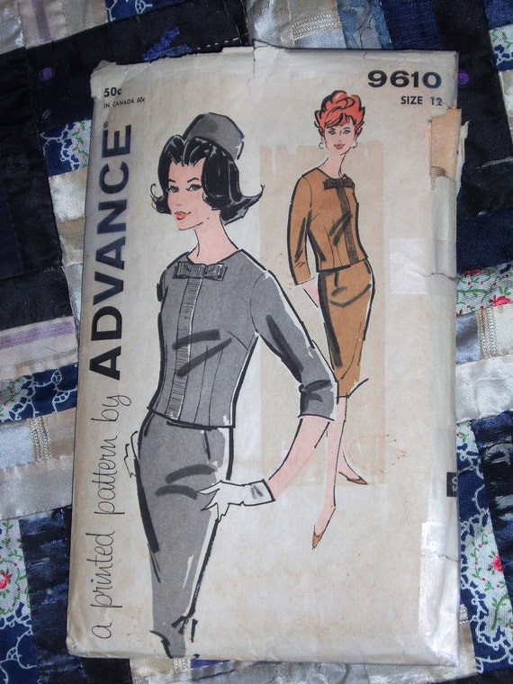 1950s Advance Pattern 9610 Teen and Junior Two Piece Dress Size 12 Bust 32
