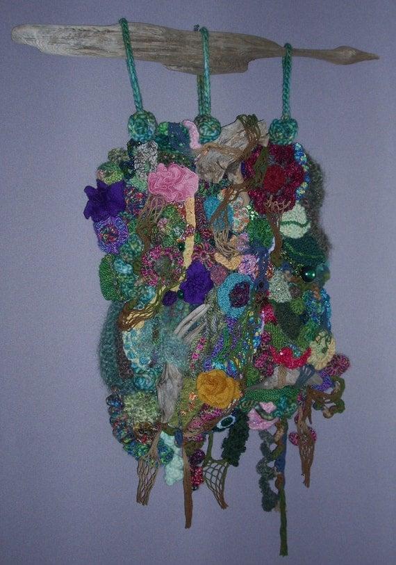 Summer Garden Freeform Knit Crochet Wall Hanging Driftwood