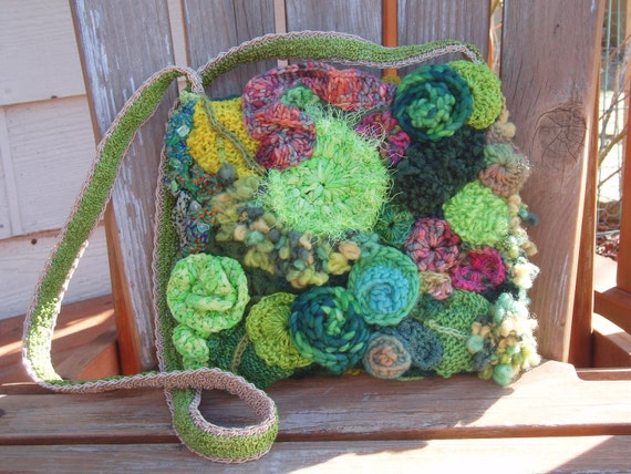 Spring Green, Knit and Crocheted Freeform Shoulder Bag, Purse OOAK