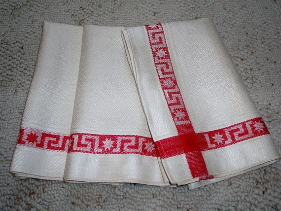 """RESERVED for Goertz5 3 Vintage 1940s Turkey Red and White Linen Kitchen Towels 21 3/4"""" x 26"""""""