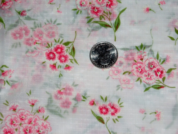 """Vintage Pink and White Floral Carnation Bouquet Nylon Fabric 36 1/2"""" Wide X 2 Yards"""