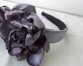 Handmade Lovely lilac rose headband in satin for prom wedding, bridesmaid, formal, evening, day