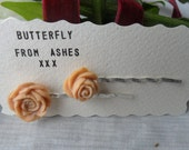 """Beautiful Ivory cream matte  rose bloom hair pins on 2"""" bobby pins"""