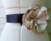 Champagne ivory flower handcrafted satin rose sash on black ribbon for bride, bridesmaid, wedding, prom and evening