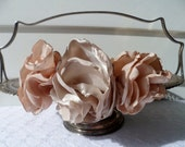 Champagne and peach silk handcrafted rose headband- the flower pot- for bridesmaid, wedding, day, prom, date and evening